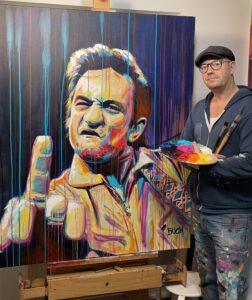 Original popart maleri af johnny cash med fuckfinger med løbende maling, malet af kunstner Allan Buch Maleri til salg