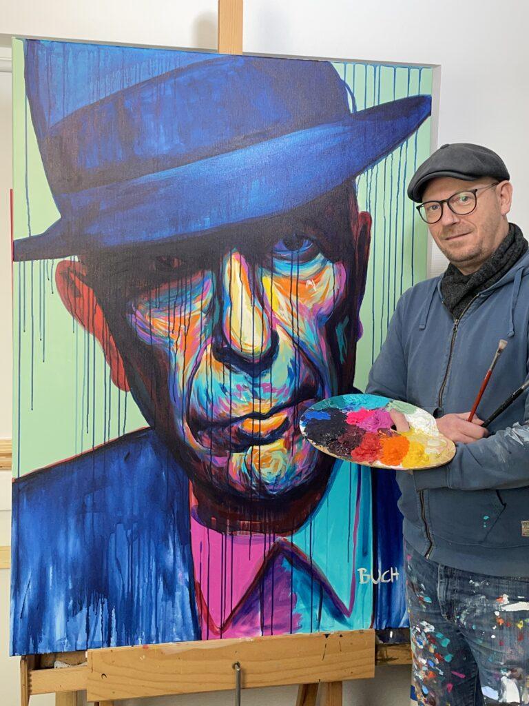 Original popart maleri af mørke Leonard Cohen med løbende maling, malet af kunstner Allan Buch Maleri til salg