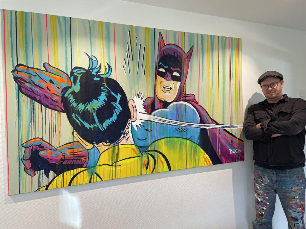 Original popart maleri af BAtman som slår Robin med løbende maling, malet af kunstner Allan Buch Maleri til salg