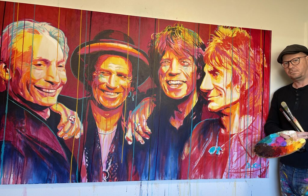 Original popart maleri af Rolling stones med løbende maling, malet af kunstner Allan Buch Maleri til salg